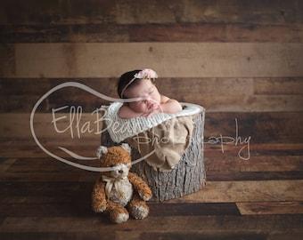 Newborn Digital Backdrop Teddy Bear Rustic Organic
