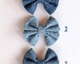Denim Delight - bows, barrettes, bow ties, cranial helmet bows