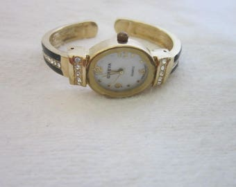 Geneve Quartz Black & Gold Cuff Bracelet Watch with Rhinestones
