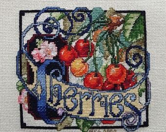 Cherries Crate Label - completed cross-stich