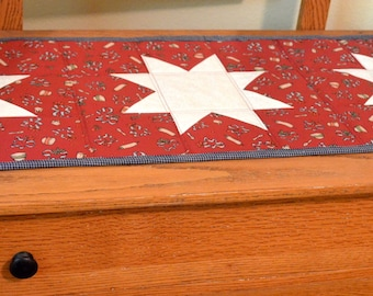 Quilted Homespun/Cotton Table Runner, Red, Blue with White Stars, 14 X 50