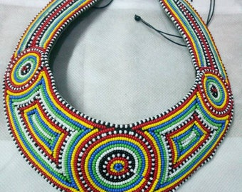 African Maasai Beaded Collar Necklace | Beaded Bib Necklace | African Jewelry | Tribal Necklace | One size fits all | Romantic Gift for Her