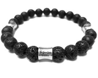 Black Lava Bracelet, Mens Bracelet, Mens Jewelry, Yoga Bracelet, Gift for Him, Gift for Boyfriend, Lava Beads, Natural Stone, Meditation