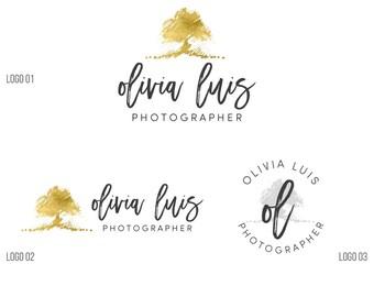 Photography branding tree, Gold Logo, Tree logo watermark, Custom Logo design, Photography logo and watermark, Premade logo, Custom logo 056
