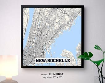 New york map print etsy new rochelle new york map print new rochelle square map poster new rochelle wall malvernweather Images