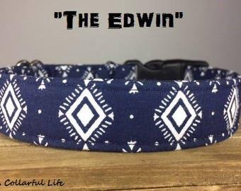 "Navy Aztech Dog Collar - ""The Edwin"""
