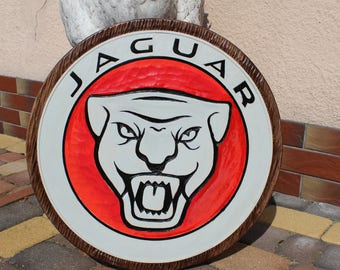 JAGUAR - Handmade Large logo carved in wood - 50 cm
