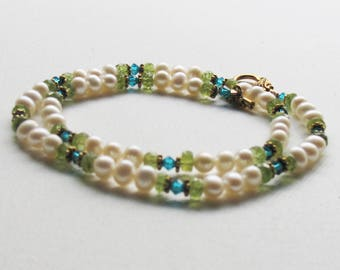 Freshwater Pearl and Peridot Necklace