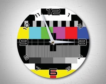 Retro TV Test Wall Clock - Retro gift - Customised Wall Clock - Unique Wall Clock - SMPTE bars - Television - I love TV - MadMadeWorld