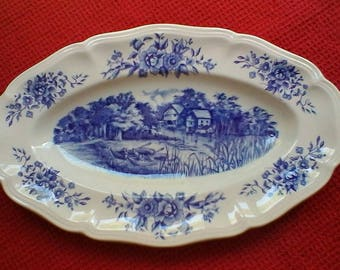 """Blue and White Hors d'œuvre Dish - French vintage Sarreguemines """"Romantic"""" ravier"""