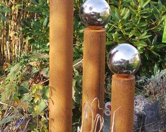 Garden pillars narrow rust mix - set of 3