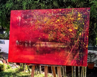 Red Yellow Abstract Acrylic Painting Original