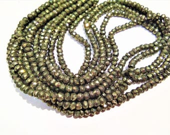 ON SALE -AAA Natural Pyrite 3 to 3.5mm faceted rondelle Beads,Pyrite loose Beads strand, GemStone Necklaces Jewellery.