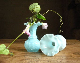 Pair of Antique French Portieux Vallerysthal Light Blue Opaline Glass vases 1860/70