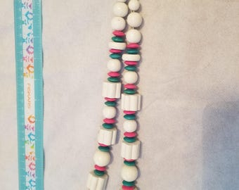 Hand painted wooden beaded necklace