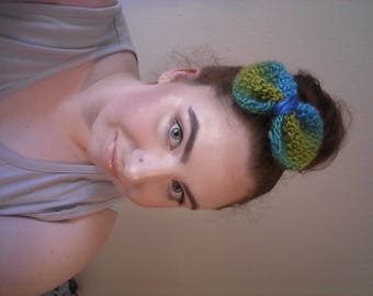 Blue and Green Knitted Wool Hair Bow