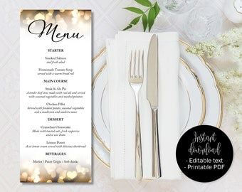 Gold Hearts Wedding Menu, Gold Wedding Day, Gold Menu Template Printable, Editable Wedding Menu Template, Menu Download, Wedding Template