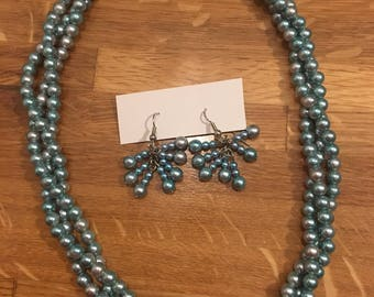 Teal/Gray Pearl Statement Necklace & Earring Set