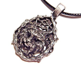 Lynx Cat in Bramble Branches Teardrop Shaped Pendant on Black Pleather Cord 2N