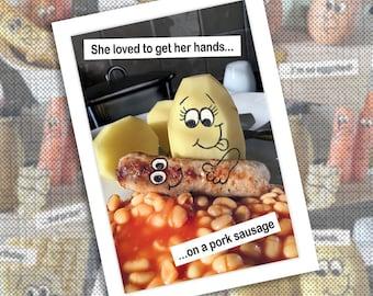 Funny photographic potato and sausage birthday card