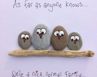 Pebble Picture, Family, Framed, Personalised, Gift, Handmade