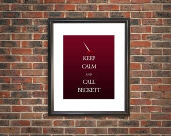 Keep Calm and Call Beckett 8x10 print - Castle TV show, Fandom art, Kate Beckett, Detective Beckett, Richard Castle, Stana Katic