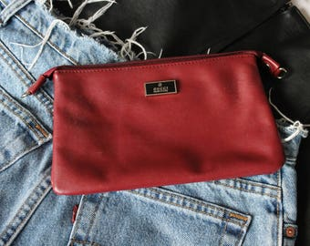 Vintage Gucci Clutch Bag Maroon / Red Grunge Italian Leather 90s 80s small purse festival