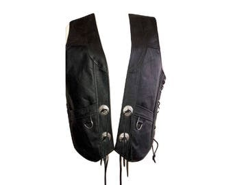 Vintage Leather Biker Vest, Black Leather Vest
