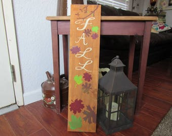 Fall Sign-painted wood with fall leaves