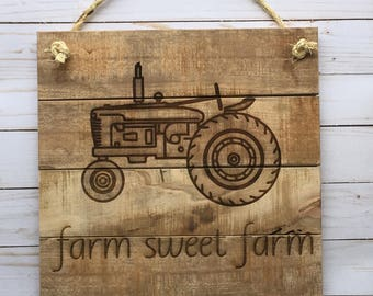 Farm Sweet Farm 12x12 Laser Engraved Pallet Sign