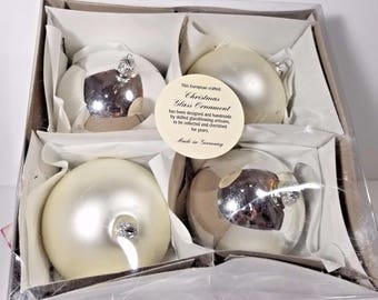 European Handmade German Glass Christmas Holiday Ornament Set of 4 Silver Ivory