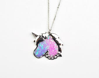 Unicorn necklace, Resin necklace, Unicorn Jewelry, Unicorn pendant, Unicorn charm necklace, Silver unicorn, glitter necklace,
