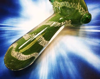 Mossy Trails Glass Spoon Pipe, Tobacco Pipe, Smoking Pipe