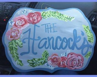 Floral Nameplate Door Hanger