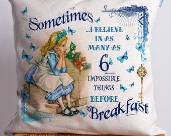 Alice in Wonderland Cushion | Vintage Mad Hatter | Impossible Things Quote | Present Gift | CAW07