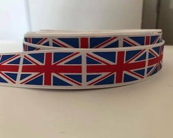 "1"" Union Jack grosgrain ribbon"
