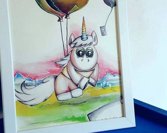 Original watercolor mural nursery watercolor Unicorn a4 communication