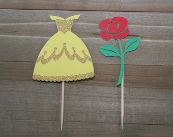Princess and rose cupcake toppers! This is the perfect pair to add to your cupcakes for that special princess birthday party! Princess dress