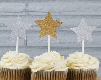 Sparkling Star Cupcake Toppers! Cupcake toppers, star toppers, stars