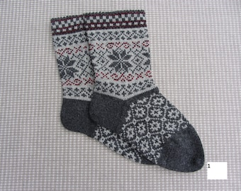Wool socks for men. Warm gift for him. Norweigan knitted knitted socks. 100% natural wool.