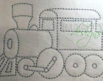Vintage Train Quick Stitch Embroidery Design