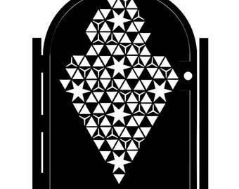 Steel Star Gate - Geometric Metal Art - Delta - Ornate Wall Panel - Patterned Wall Art - Outdoor Art - Astronomical Art - Metal Gate Panel