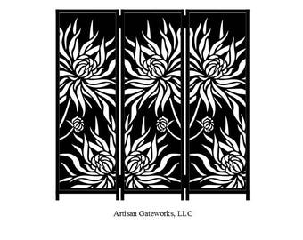 Steel Panel Room Divider - Decorative Room Divider - Chrysanthemum - Privacy Screen - Custom - Handmade