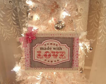 Vintage Shabby Chic Chipboard Made With Love Valentine Ornament Pink Shabby Chic Baby Shower Nursery Hanger Valentine Gift