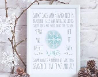 Winter Decor - Christmas Gift - Winter Sign - Winter Printable - Christmas Printable - Christmas Decorations -  Christmas Gift Under 10