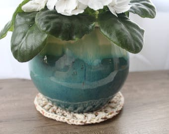 Crochet Mandala Plant Mat // Farmhouse Style // Rustic // Plant Coaster