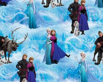 Frozen fabric by the yard, Elsa fabric, printed quilting cotton, frozen quilting fabric, frozen sewing fabric, Olaf, Anna