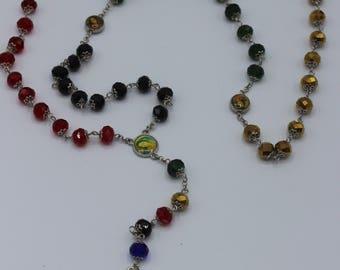 Full Five Decade Rosary in 5 Color Decades of Black, Gold, Red, Blue and Green with St. Michael Our Lady of Fatima Beads