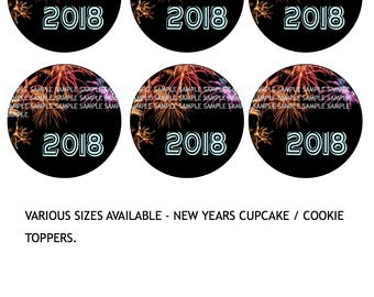 New years Icing sheet Edible Image Cupcake or Cookie Topper