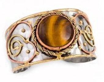 Tiger Eye Bracelet, Mixed Metal Cuff Bracelet, Brass Copper Bracelet, Nickel Free Bracelet, Handmade, Boho Chic